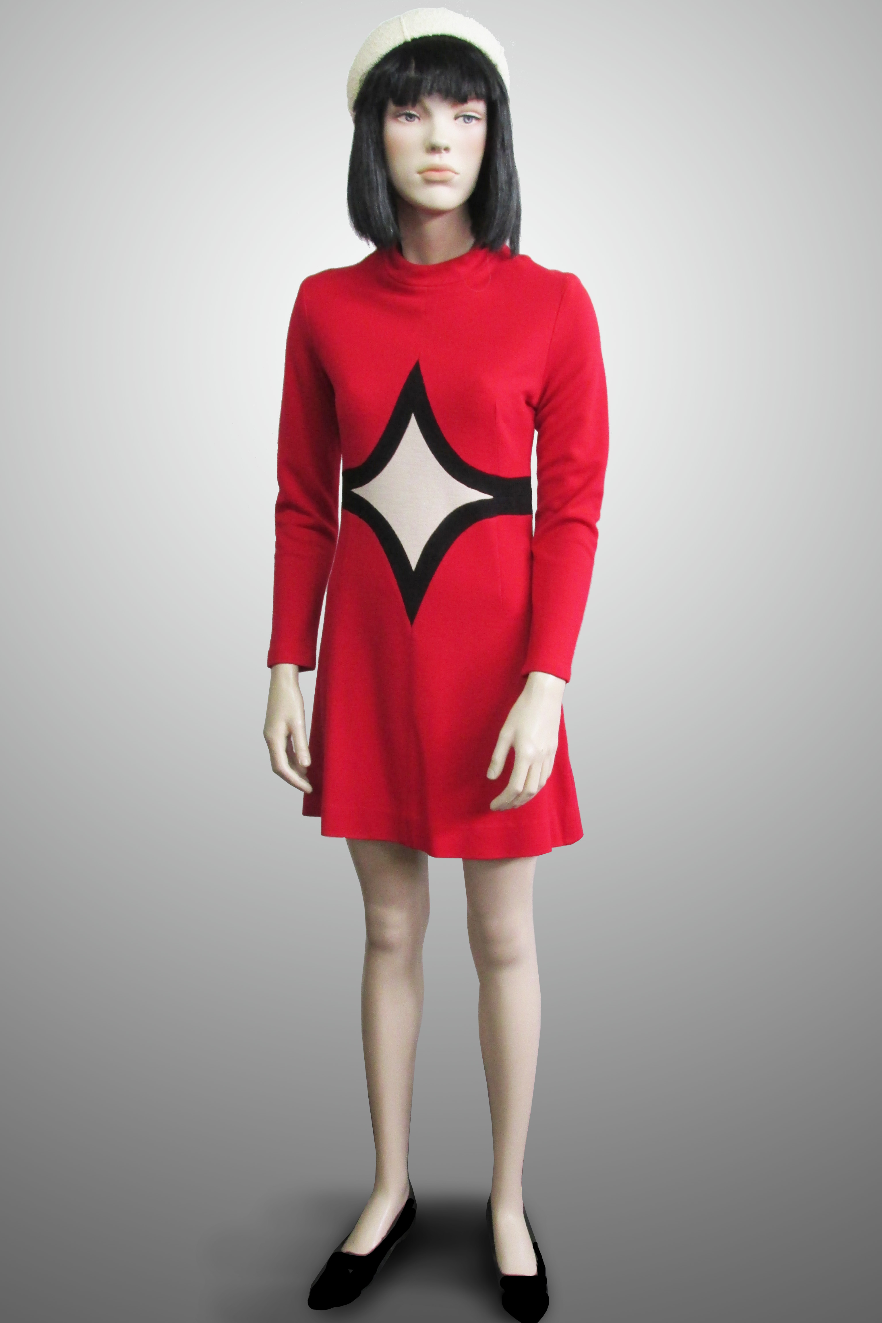 Dress Red Knit with White/Black Diamond Detail 1960s