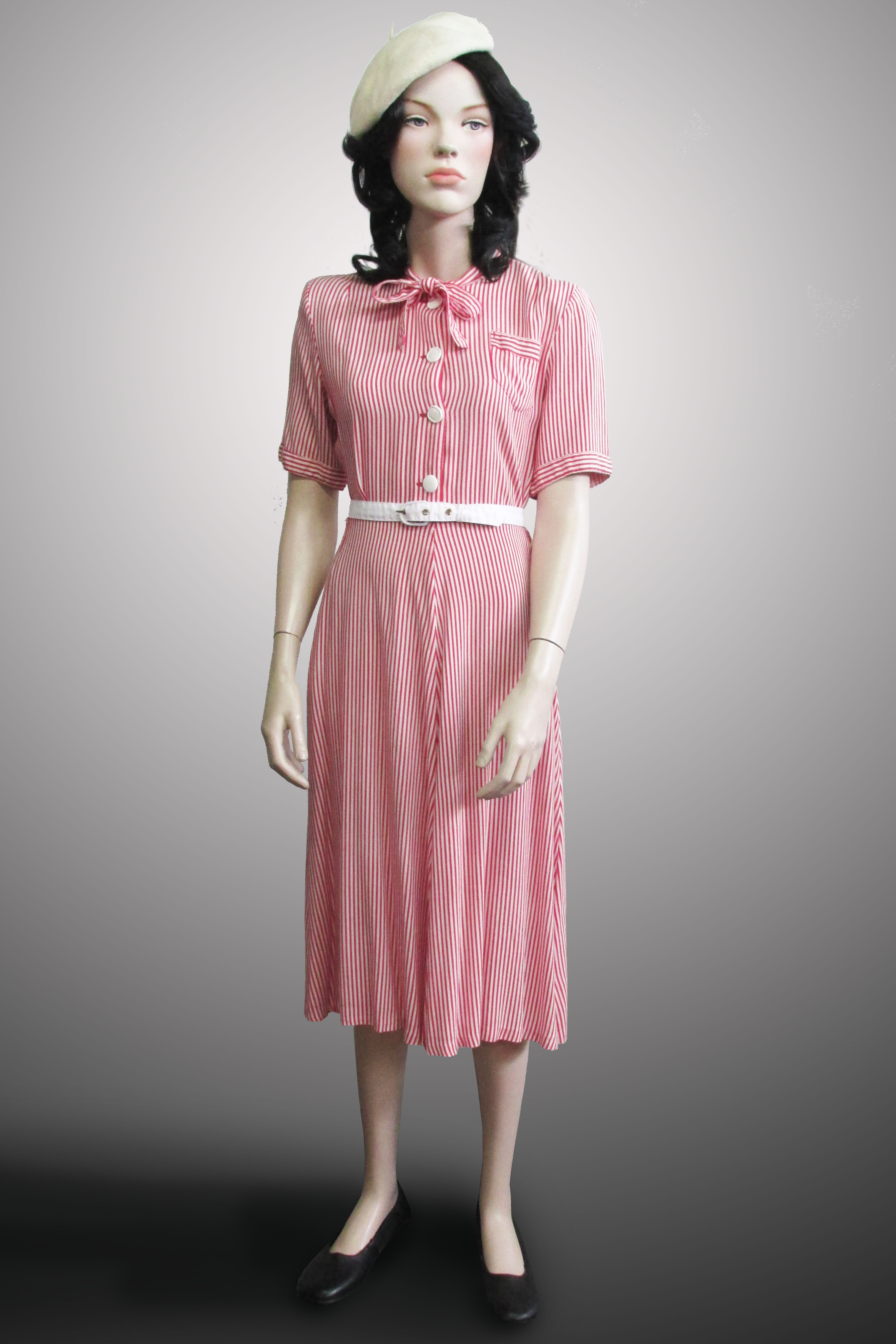Dress White/Red Stripe with Bow 1940s
