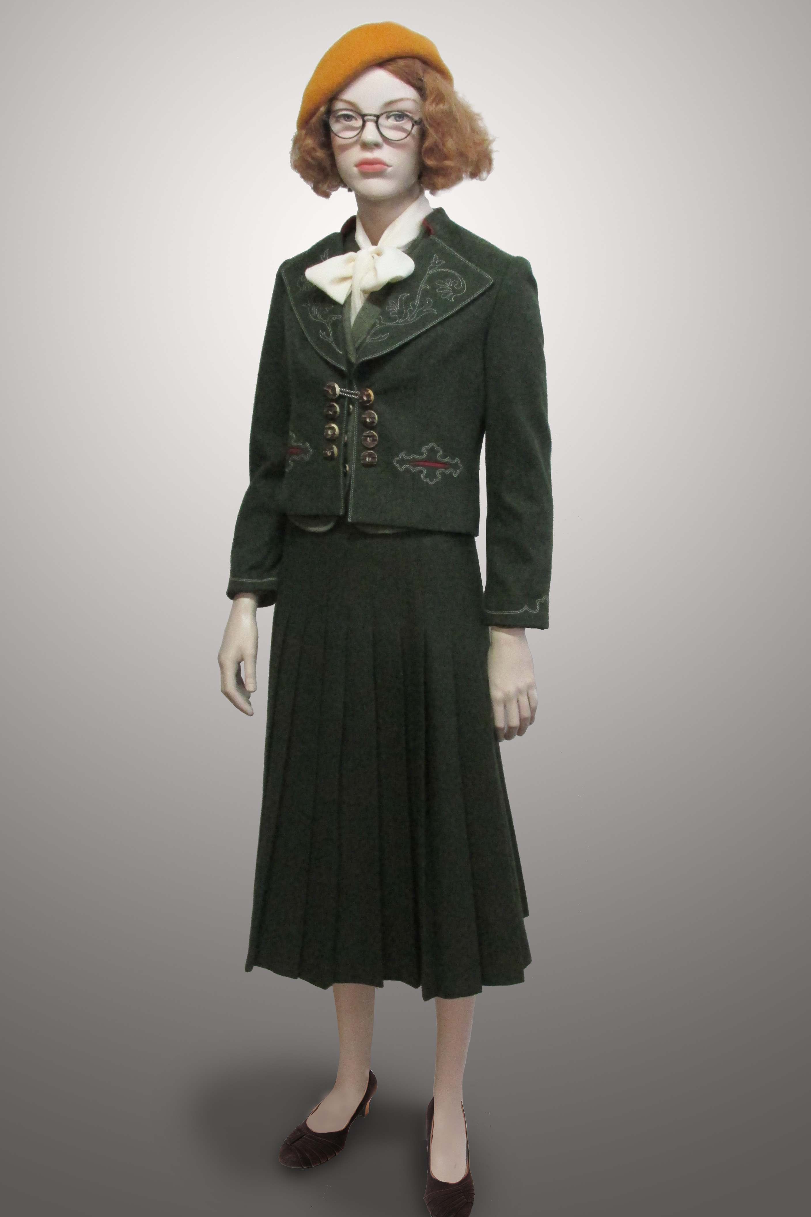 Green Pleated Skirt with Green Austrian Jacket