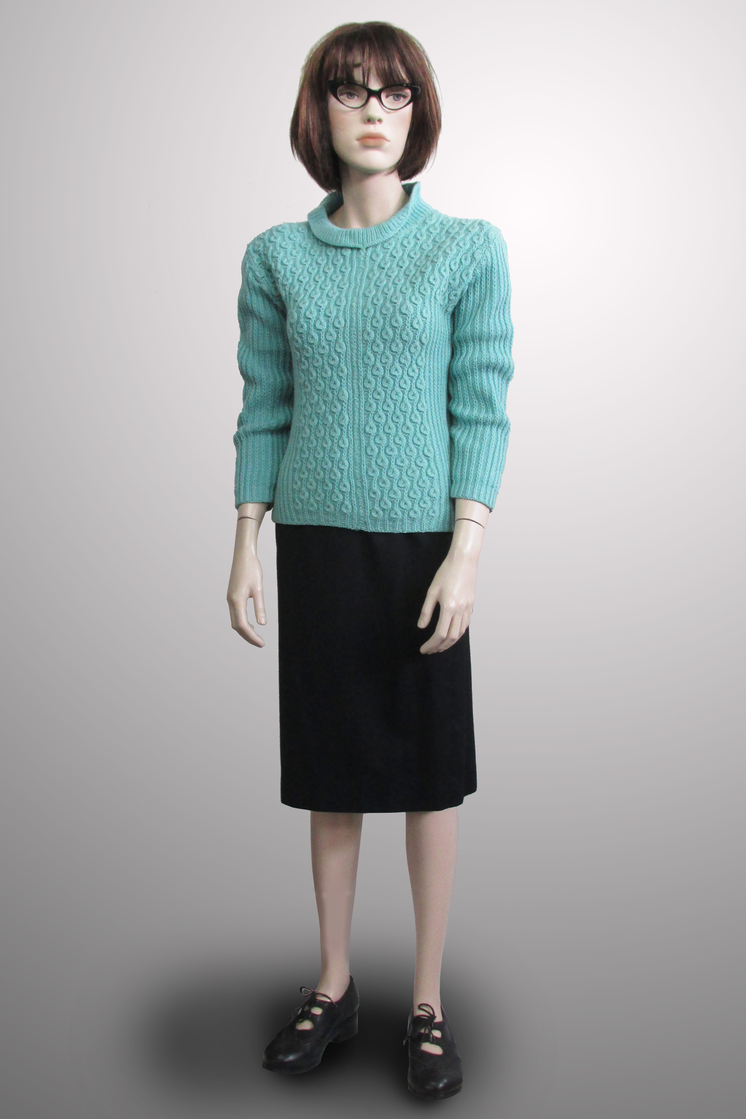 Turquoise Jumper with Black Skirt 1950s/60s