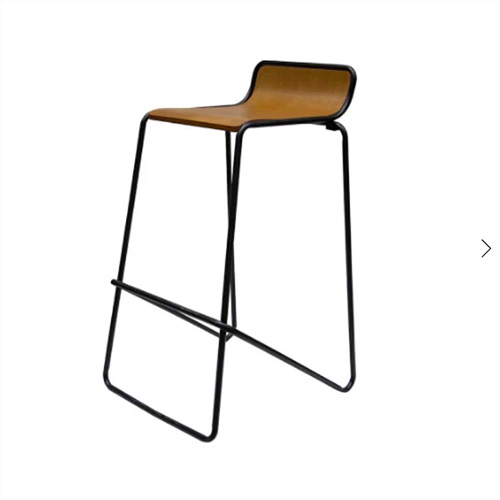 Stool Ideal. Black frame with woodgrain seat.