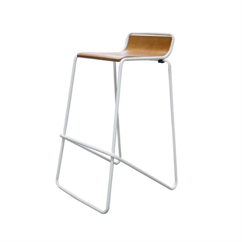 Stool Ideal. White frame with woodgrain seat.