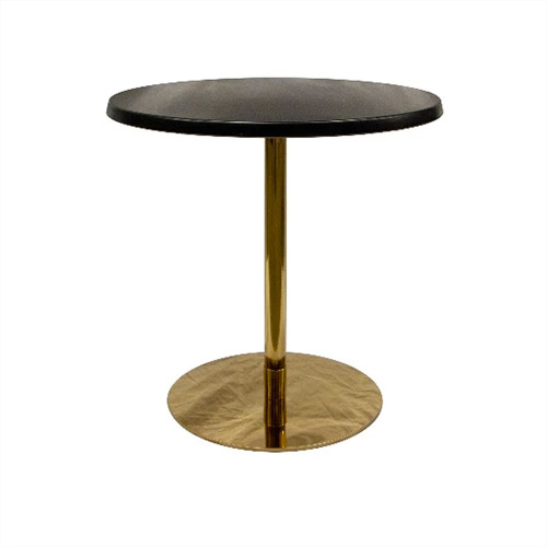 Cafe Table. Ideal Black round top on a gold base 700D x 750H