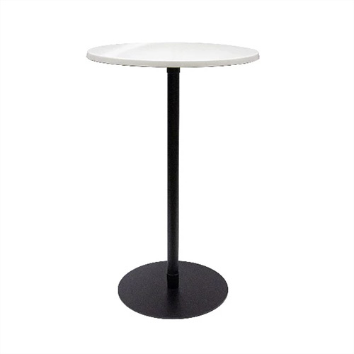 Bar Leaner Ideal White round top on a black base 700D x 1080H
