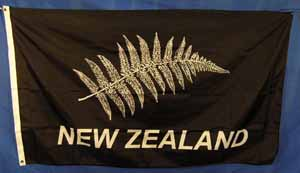 New Zealand Silver Fern On Black (1.5m x 0.9m) [mat=polyester] [x=2]