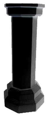 Plinth (l) Wooden Octagonal Black (H1m) 4 available