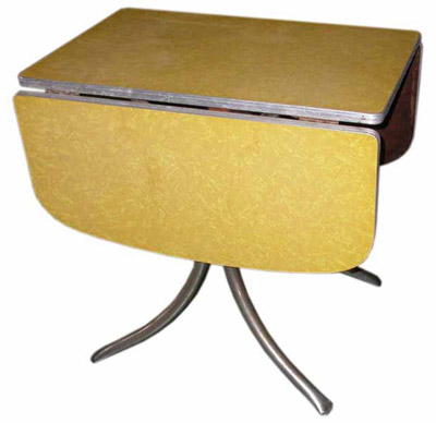 Formica Kitchen Table #005 Yellow Drop Leaf (H73cm W122cm D76cm)