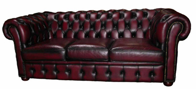 Red Leather Chesterfield Sofa #03 (0.8m x 1.93m x 1.05m)