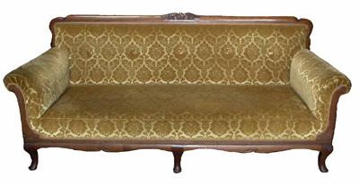 French Velvet Brocade Sofa #08 Gold (matches 2 x Armchairs)