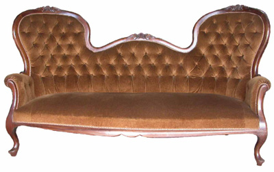 Victorian Sofa #13 Brown Velvet Buttoned [L1.73m x H1m] (matches 2 x Armchairs)