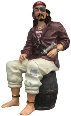 Pirate Sitting On Barrel (H135cm x L50cm x D75cm) Lifesize