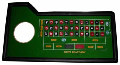 Roulette Table Top (0.1m x 2.2m x 1.2m) w Roulette Wheel # 1 (0.1m x 0.5m dia) PROP ONLY not for playing