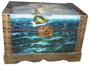 Treasure Chest #13 Small Painted (H22cm x W31cm x D19cm)