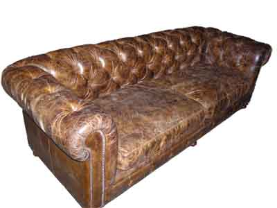 Brown Chesterfield Sofa #01 Leather (0.8m x 2.5m x 1.0m)