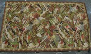 Rug Abstract Green/Cream/Brown/Red/Blue Design (0.9m x 1.70m)