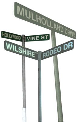Hollywood Road Sign w Stands [x=4] (price is per 1 item)