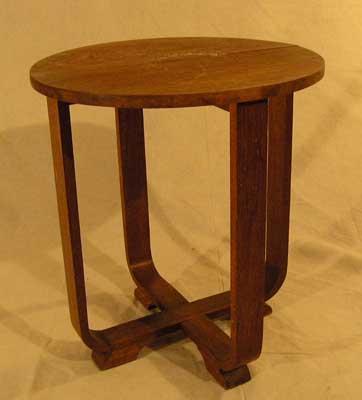 Coffee Table Art Deco #039 Oak (H57cm Diameter 50cm)