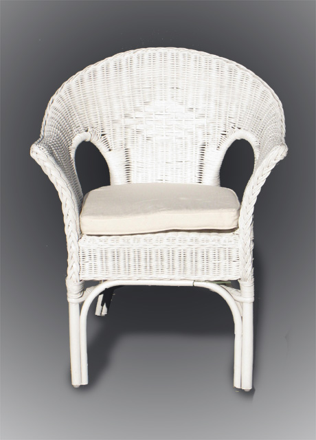 White Cane Chair With Padded Cushion x2