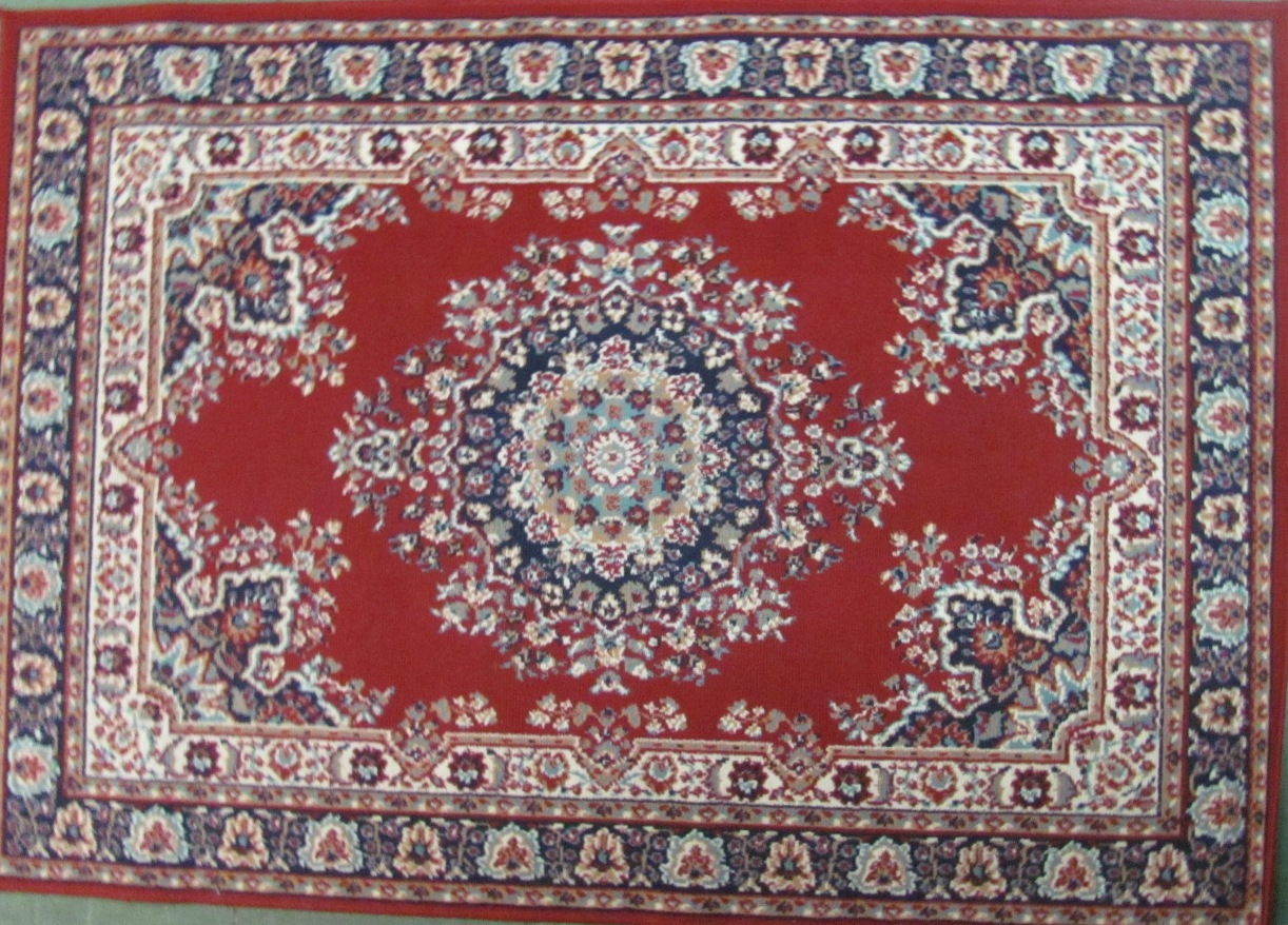Persian Rug Red Blue White Design 1 7x1 2m
