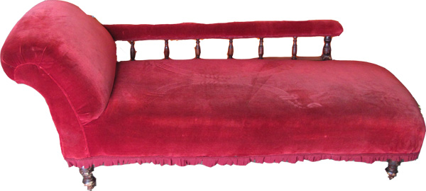 Chaise Lounge Red  (1.6m x 0.7m x 0.55m)