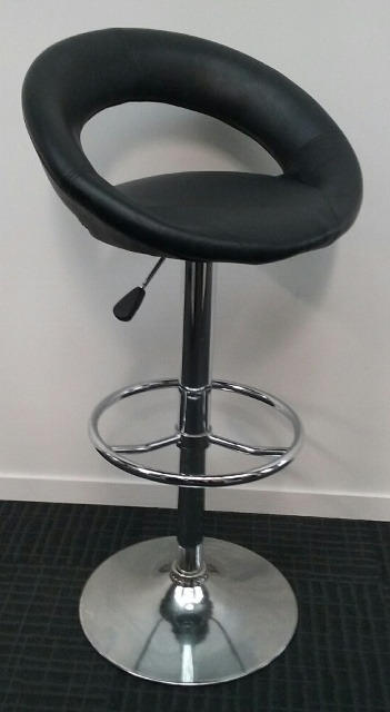 Bar Stool Steel With Vinyl Seat (adjustable height 55cm-80cm) 4 in stock.