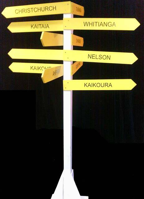 Four Way Kiwiana Road Sign