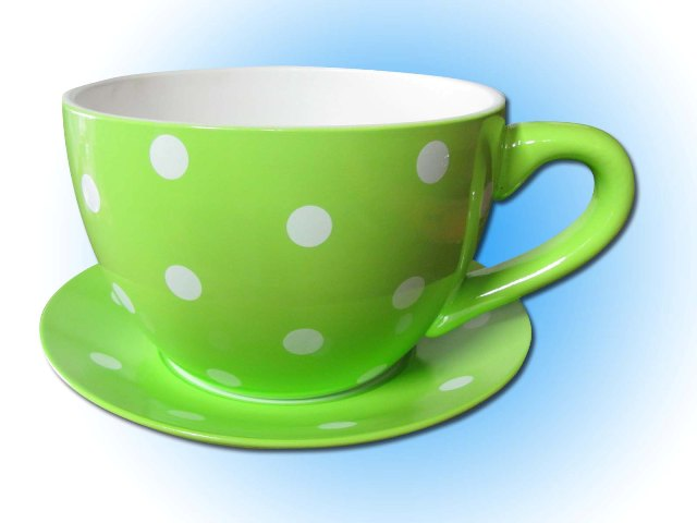 Teacup & Saucer Large Green / White Dots (25cm dia x 18cm high) 2 in stock