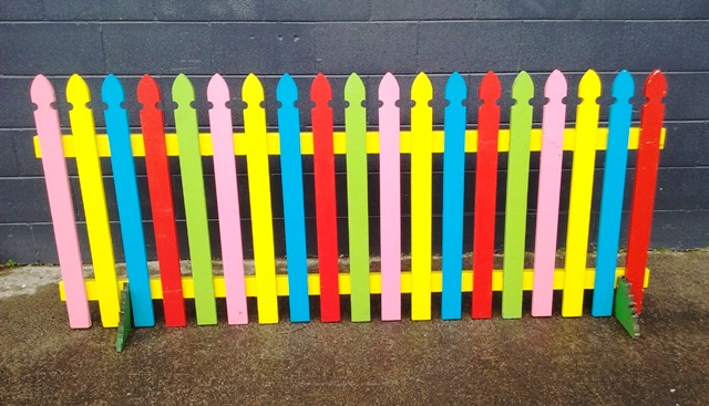 Large Coloured Picket Fence 2m x .9m