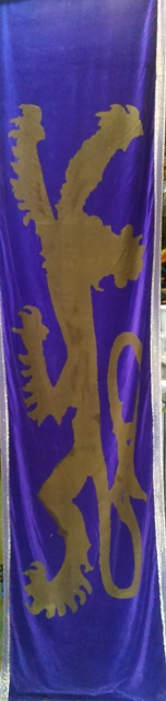 Banner With Lion Purple Velvet  (W86cm Drop320cm) 2 available.