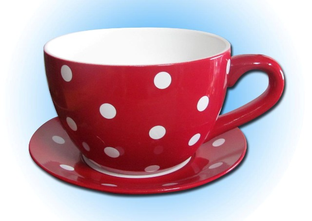 Teacup & Saucer Large Red / White Dots (25cm dia x 18cm high) 2 in stock
