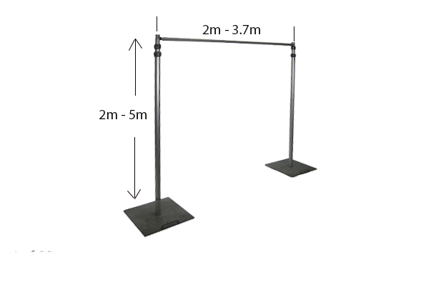 Adjustable Framing For Curtains/Backdrops (2m -3.7m wide x 2.5m -5m high)
