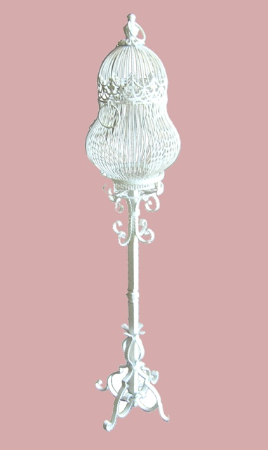 Birdcage #02 Victorian On Stand  White (2 parts) (H143cm x Dia31cm)