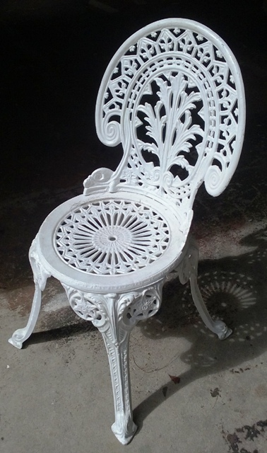 Chair White Wrought Iron Outdoor 85 cm High (9 in stock)